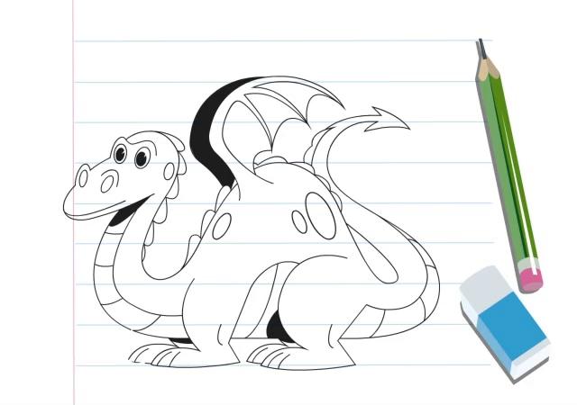 آموزش نقاشی با طرح هندسی (اژدها)