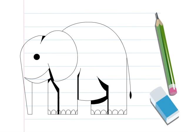 آموزش نقاشی با طرح هندسی (فیل)