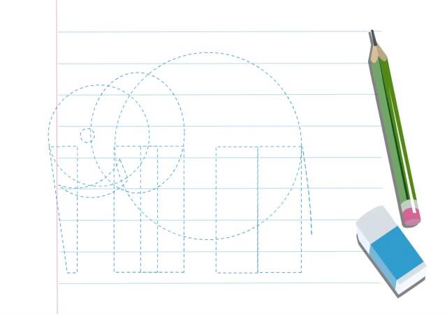 آموزش نقاشی با طرح هندسی (فیل)آموزش نقاشی با طرح هندسی (فیل)
