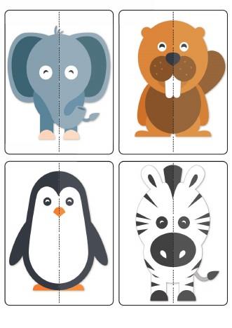 پازل دو تکه حیوانات کارتونی برای خردسالان