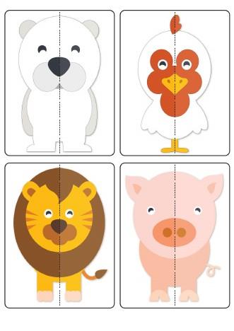 پازل ساده دو تکه حیوانات کارتونی برای خردسالان