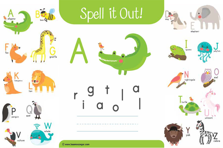 کاربرگ هجی کن! کاربرگ آموزش حیوانات با الفبای انگلیسی از A تا Z برای کودکان آموزش الفبای انگلیسی به کودکان